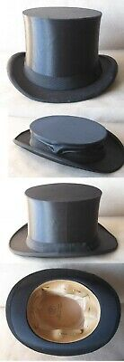 ANTIQUE OLD GERMAN MARKED SILK COLAPSIBLE OPERA TOP HAT GIBUS / SIZE 57 / 1920s