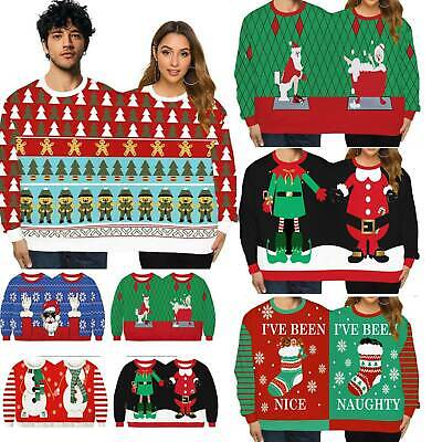 Two Person Xmas Ugly Sweater Unisex Couples Pullover Christmas Blouse Shirt Gift