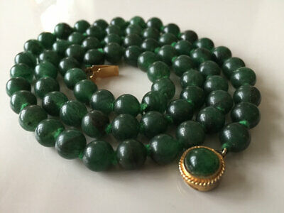 Superb Antique Art Deco Chinese Jade Jadeite Bead Necklace 54G