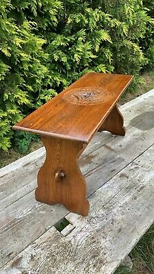 Beautiful Vintage Hand Made Long Wooden Carved Stool Table *
