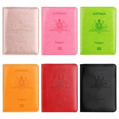Leather RFID Blocking Passport Travel Wallet Holder Cards Cover Case