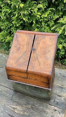 Vintage Victorian Edwardian Walnut Writing Letter Stationary Box Secret Draw *
