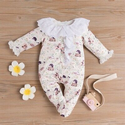 Cute Newborn Infant Baby Girl Doll Collar Ruffle Romper Jumpsuit Outfit Clothes