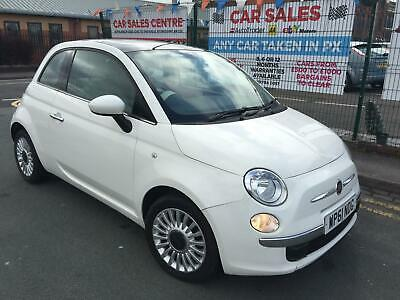 Fiat 500 LOUNGE 1.2 WHITE 2012 *GLASS ROOF *LOW 46,210 MILES *12 MONTH MOT