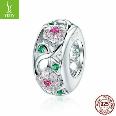 European Women 925 Sterling Silver Flowers CZ Crystal Charm Bead Pendant Jewelry