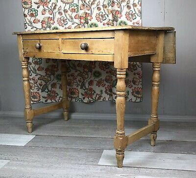 OLD STRIPPED RUSTIC PINE TABLE + DRAWS Extendable antique shabby victorian side
