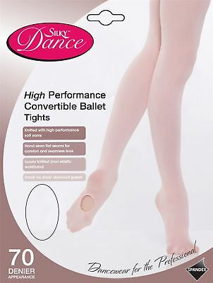 Girls Silky Dance High Performance Convertible Ballet 70 Denier Tights - Pink