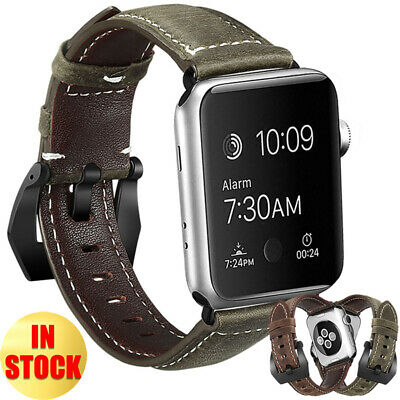 Men's Genuine Leather Watch Band Strap For Apple Watch Series 5 4 3 2 40/42/44mm