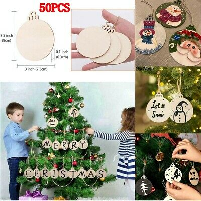 """Round Wooden Discs+Holes 3.5"""" Unfinished Predrilled Natural Wood Slices DIY Xmas"""