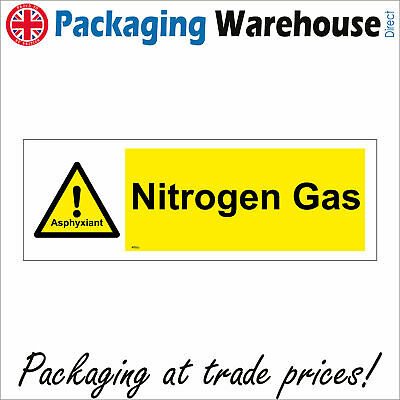 Wt022 Nitrogen Gas Asphyxiant Sign Exclamation Mark Warning Caution Danger