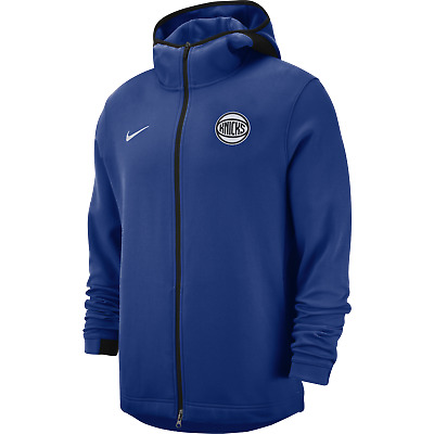 Nike NBA New York Knicks Dry Showtime Mens Basketball Hoodie Blue Standard Fit