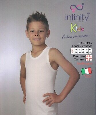 Tank Top Intimate Boy Wide Shoulder - White Cotton Hypoallergenic infinity