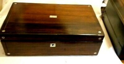 lovely Antique Rosewood And mother Of Pearl Writing Slope with 2  inkwells