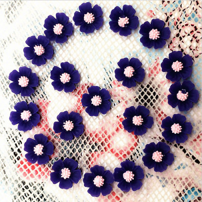 20pcs Resin Flower flatback Appliques For phone/wedding/crafts Blue