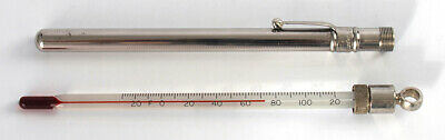 Taylor Glass Lab Thermometer in Metal Case with Pocket Clip -30 to + 120 F GREAT