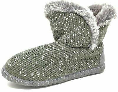 Ladies Teens Girls Grey Brown Knitted Faux Fur Bootie Slippers Size Womens 3-8