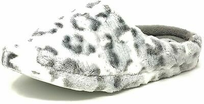 Ladies Womens Teens White Leopard Print Slippers Girls Mules Size 3-8