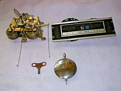 Clock  Parts,Movement,Date-Day, Pendulum,Hands ,Key