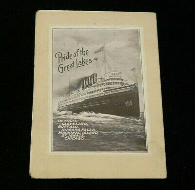 1909 D & C Lake Lines Steamer Ship Great Lakes Detroit Cleveland Navigation Menu