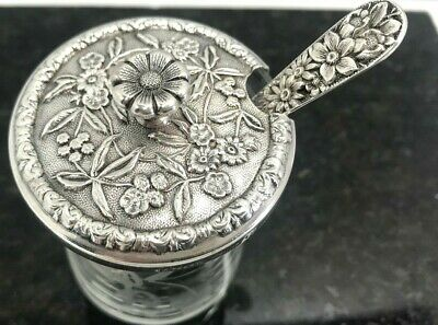 Kirk & Son Sterling Silver Spoon & Jelly Jar REPOUSSE FLOWERS DESIGN