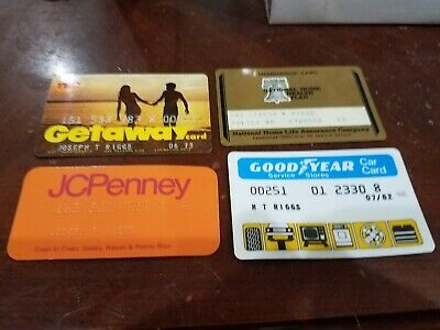4Vintage Expired Credit Cards For Collectors - rare Orange Jc Penney, getaway