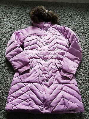 Lands End Stunning Long Padded Coat Age 11-12 Pink Very Warm And Snug