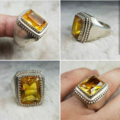 Solid 925 Sterling Silver Natural Yellow Citrine Gemstone Huge Mens Ring Jewelry