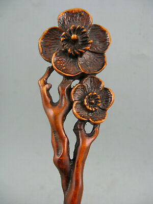 Antique Chinese Old Collectible Boxwood Handwork Plum flower Hairpin Statue