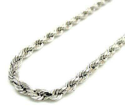 Solid 925 Sterling Silver Italian Rope Chain Mens Necklace 3.20mm - Diamond Cut