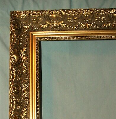 Italy Ornate Vintage Gold Gilt Wood Picture Art Mirror Frame 21x25