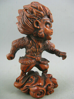 Antique Chinese Old Boxwood Hand Carved Monkey King Statue
