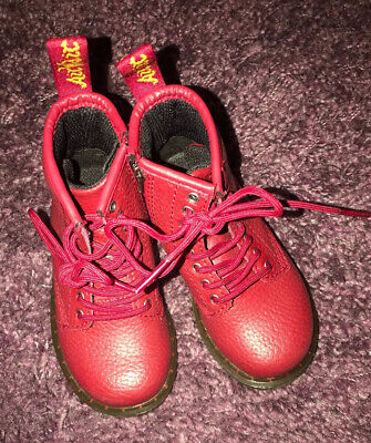 Dr Martens Boys Red Leather Boots Infant  Size 6
