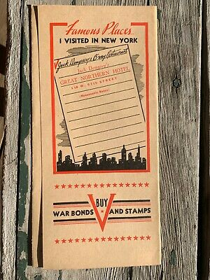 Vintage Jack Dempsey Restaurant Menu BUY WAR BONDS WWII Era c1940s