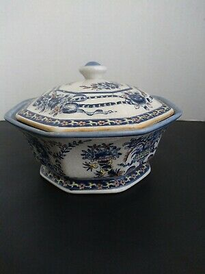 Vintage Antique Porcelain/Ceramic Blue,White and Yellow Covered Bowl