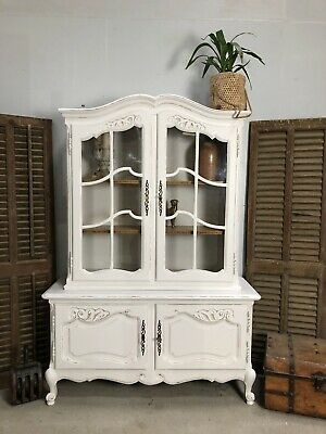 Antique French Vitrine/Cabinet / Painted Shabby chic style/ Bookcase (VB584)