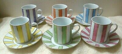 12pc Set CLASSIC COFFEE & TEA Cup Saucer Gold Lined Multi-Color Strip Gold Rims