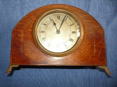 Vintage Antique Wooden Mantle Clock Oak ? Inlaid, Not Working Spares or Repairs