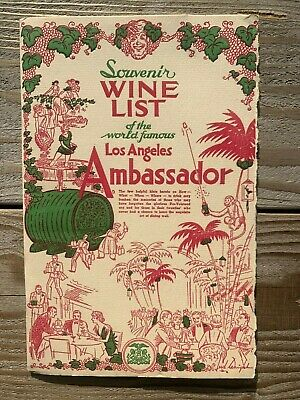 Vintage Los Angeles Ambassador Souvenir Wine List Menu 26 Pages