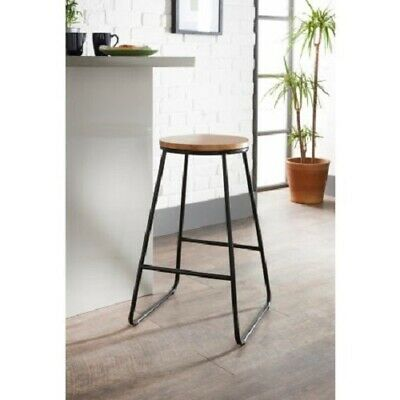 Tromso Bar Stool Contemporary Metal Bar Stool With Wooden Top New In Box