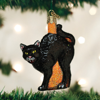 *Scaredy Cat* Kitty  [26080] Old World Christmas Halloween Glass Ornament - NEW