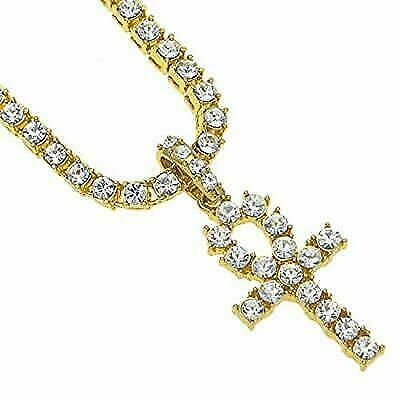 Ice City Men Ankh Cross Pendant Tennis Chain Sterling Silver Necklace