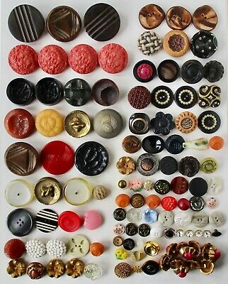 Assortment of 112 Vintage Used Plastic Buttons Including Casein and Celluloid