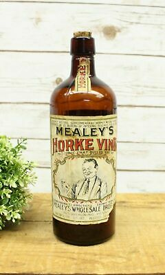 Antique Mealey's Horke Vino Tonic Quack Medicine With Cork & Label 1920
