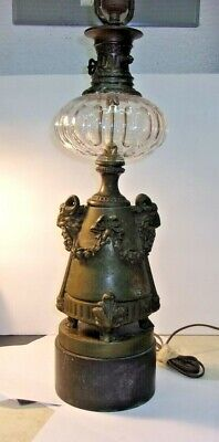 Antique BRONZE or BRASS Rams Head Table Lamp with Glass Font Pinneaple Finial