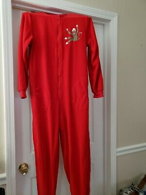 Nick & Nora One Piece Sock Monkey Footie Pajamas Red Zipper Front size small new