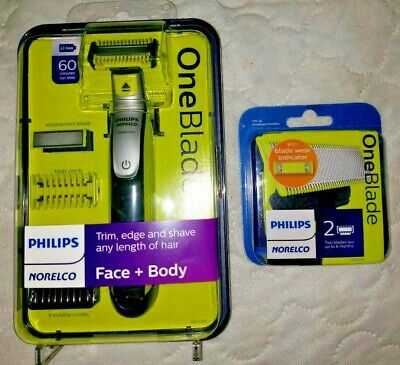 Philips Norelco OneBlade Face Body Hybrid Electric Trimmer/Shaver & 2 NEW Blades