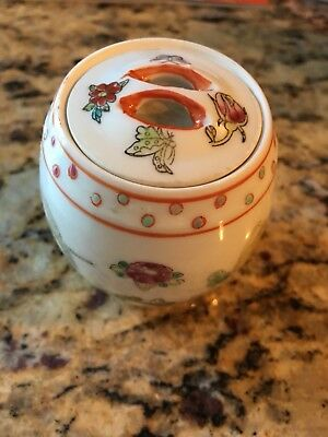 """Chinese Dragonfly Rose Porcelain Hand Painted Lidded Jar 2 1/2"""" Tall"""