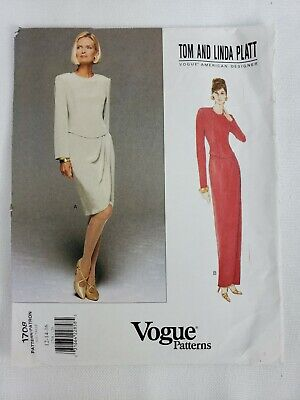 Vogue 1708 MISSES DRESS Sewing Pattern TOM & LINDA PLATT 12-14-16