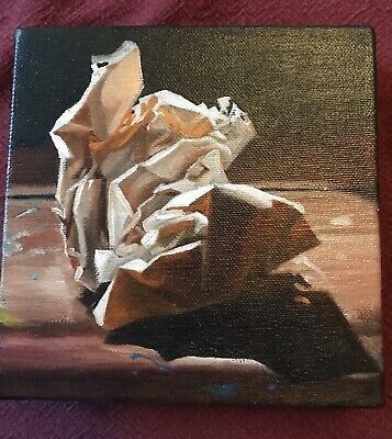 Original Painting Crumpled Brown Paper 6x6 Signed Suzanne Berry