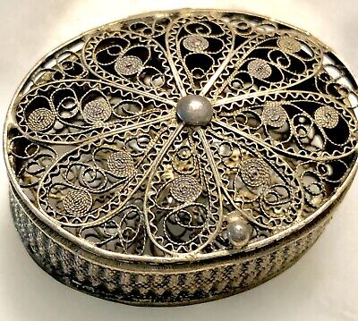 Antique 800 Silver Filigree Religious Rosary/Ring Box